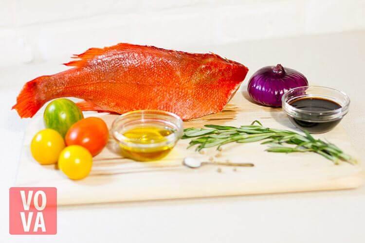 ингредиенты для приготовления морского окуня в духовке