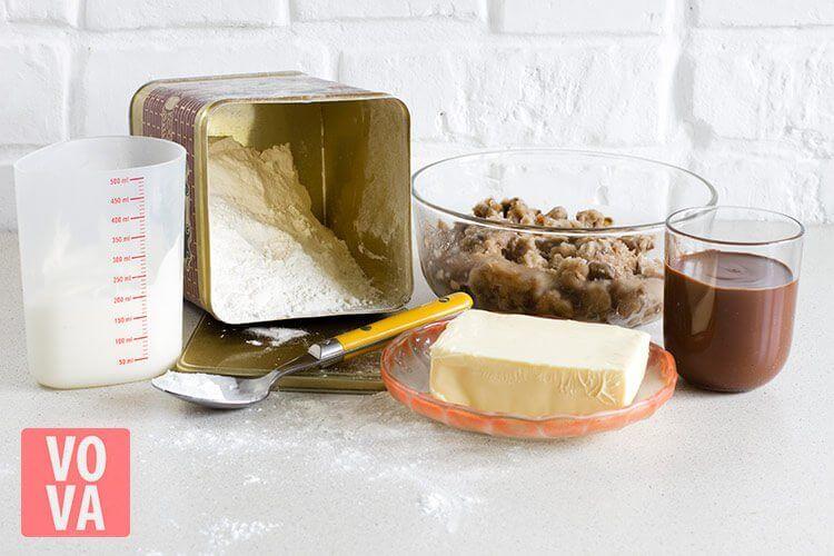 ингредиенты для печенья шоколадный рулет с бананом