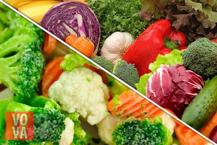 замороженные овощи и свежие овощи