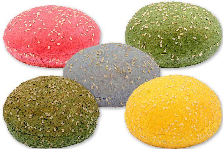 цветные булочки для гамбургеров