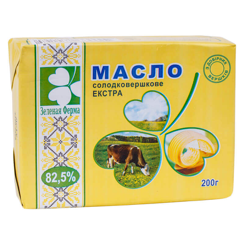 масло сливочное селянское зелена ферма 82,5% 200г