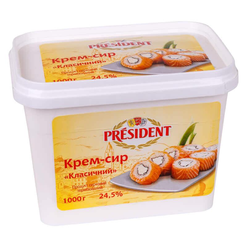 продукт сырный крем-сыр президент ведро 1кг