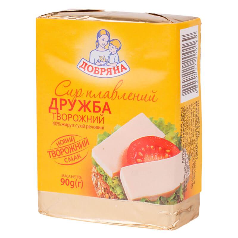 сыр плавленный творожный дружба 40% тм добряна 90г