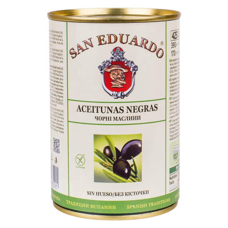 маслины черные без косточки тм san eduardo 390г