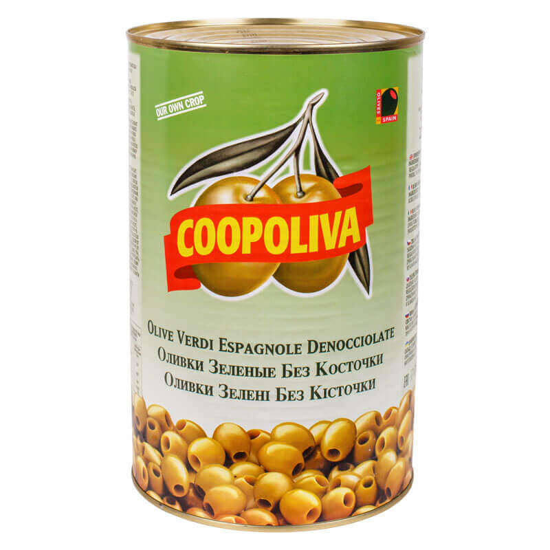 оливки зеленые без косточки coopoliva 4300г