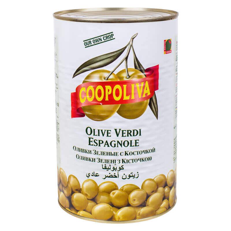 оливки зеленые с косточкой coopoliva 4300г