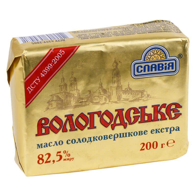 масло сладкосливочное экстра вологодское 82,5% тм славія 200г