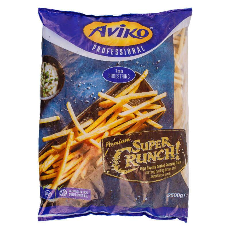 супер хрустящий картофель фри super crunch 7мм aviko 2,5кг