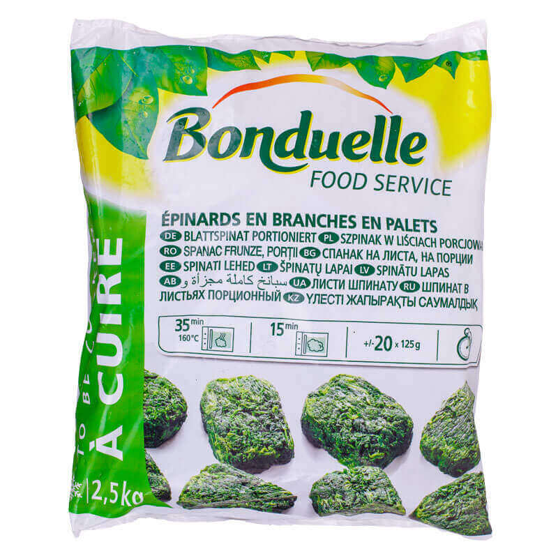 шпинат в листьях свежезамороженный bonduelle 2,5кг