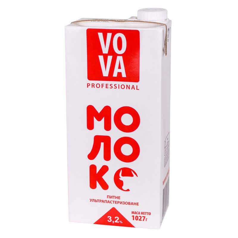 молоко питьевое ультрапастеризованное 3,2% жира тм vova 1027г