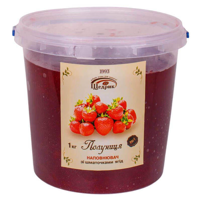 наполнитель с кусочками фруктов и ягод клубника щедрик 1кг