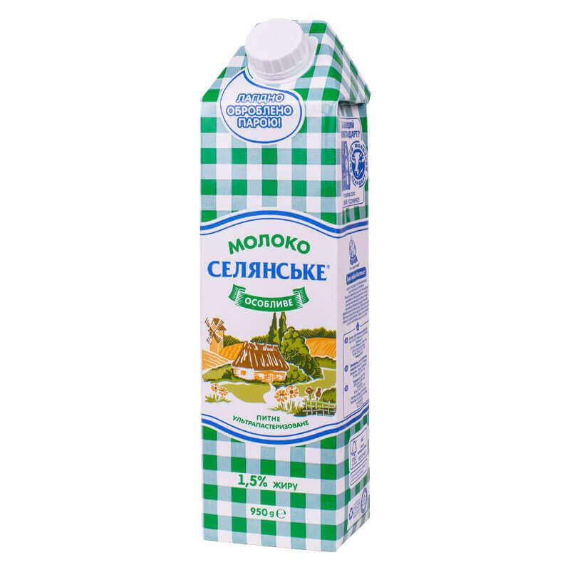 молоко питьевое ультрапастеризованное особливе 1,5% тм селянське 950г