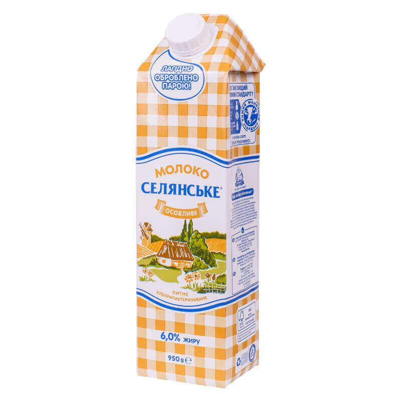 молоко питьевое ультрапастеризованное особливе 6% тм селянське 950г