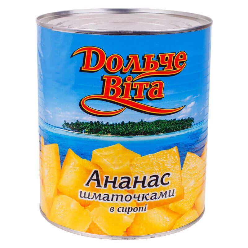 ананас кусочки в сиропе тм дольче вита 3050г