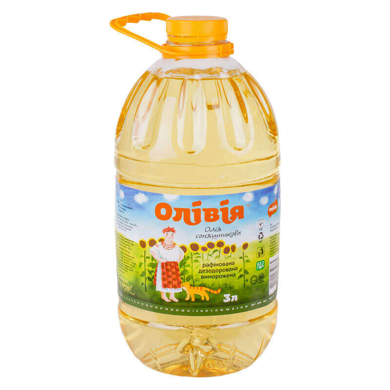 масло подсолнечное рафинированное тм олівія 3л
