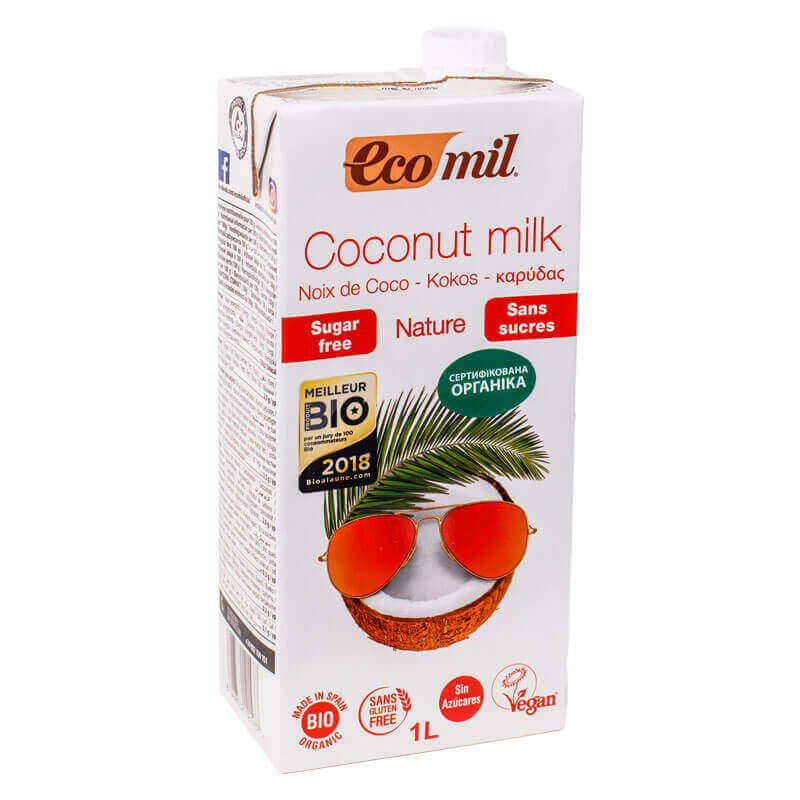 органическое растительное молоко из кокоса без сахара ecomil 1л