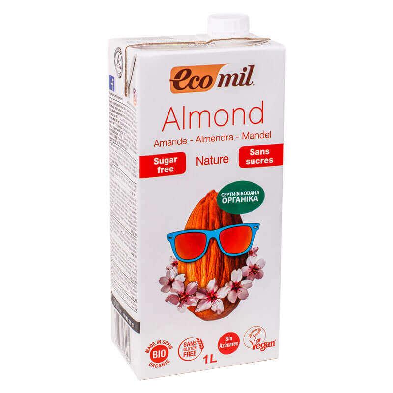 органическое растительное молоко из миндаля без сахара ecomil 1л