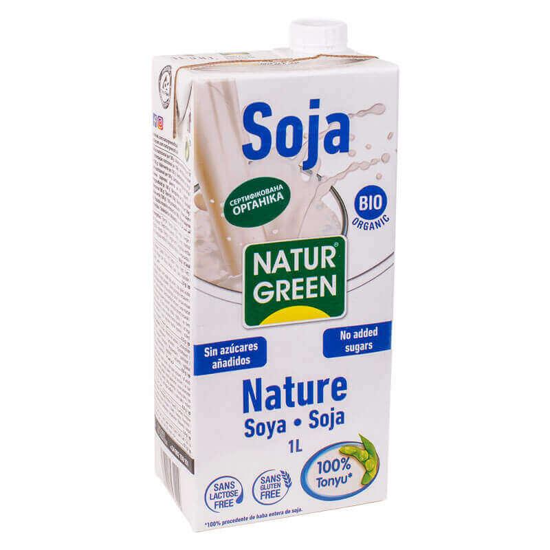 растительное органическое молоко из сои без сахара naturgreen 1л