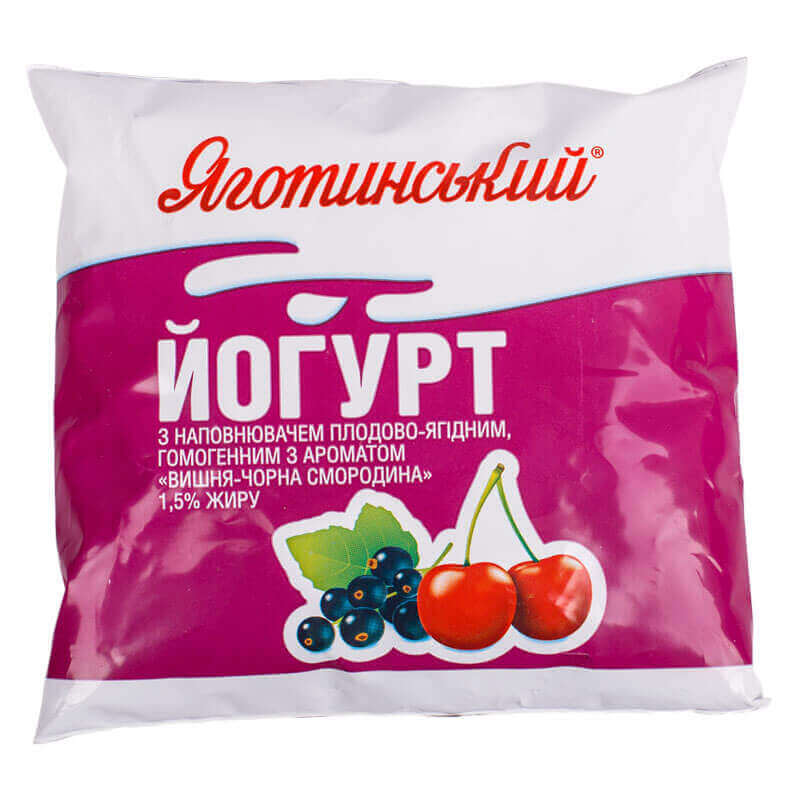 йогурт вишня черная смородина 1,5% жирности тм яготинский 400г