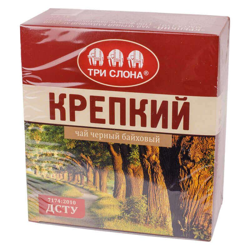 чай черный байховый крепкий три слона 100пакетиков нитка