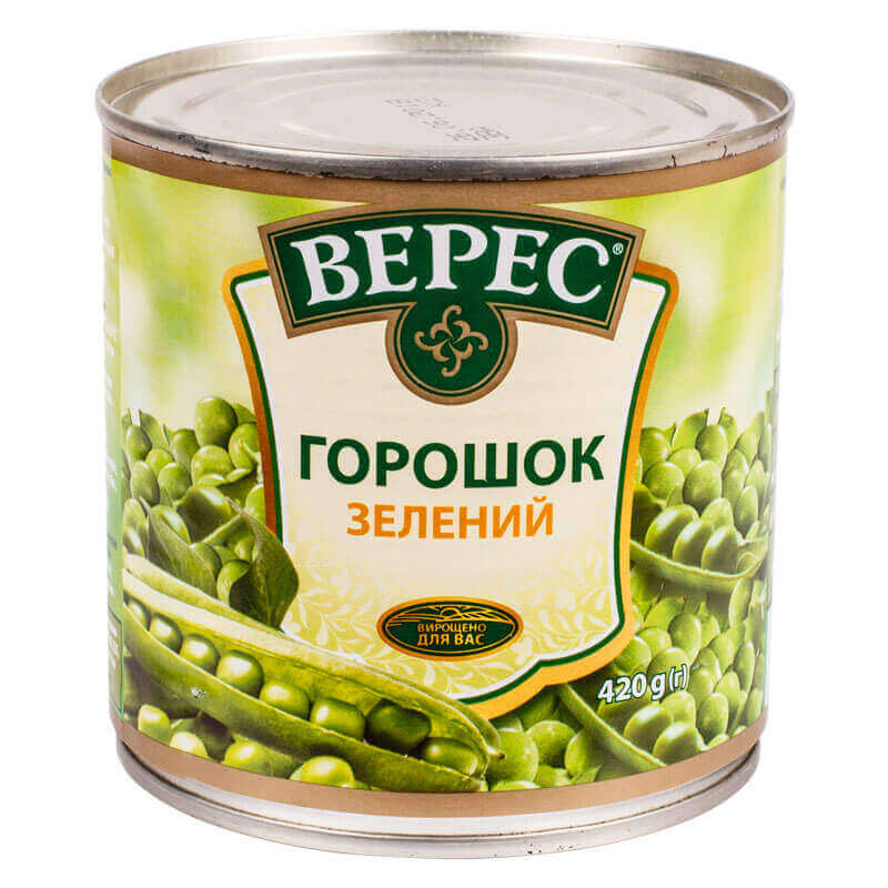 горошек зеленый из мозговых сортов тм верес 420г