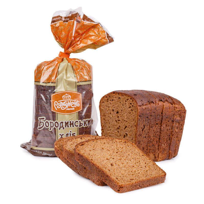 хлеб бородинский свежий нарезанный ломтиками рум`янець 500г
