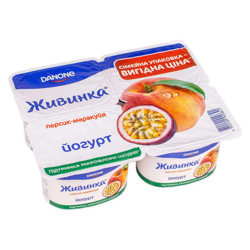 йогурт персик маракуйя 1,5% жира тм живинка 460г
