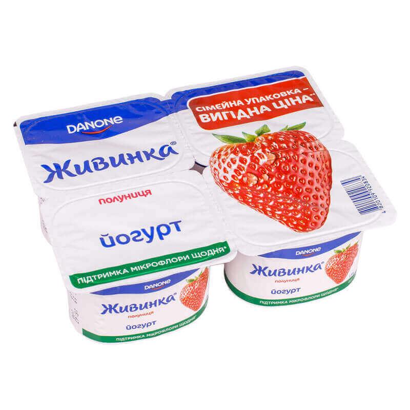 йогурт клубника 1,5% жира тм живинка 460г