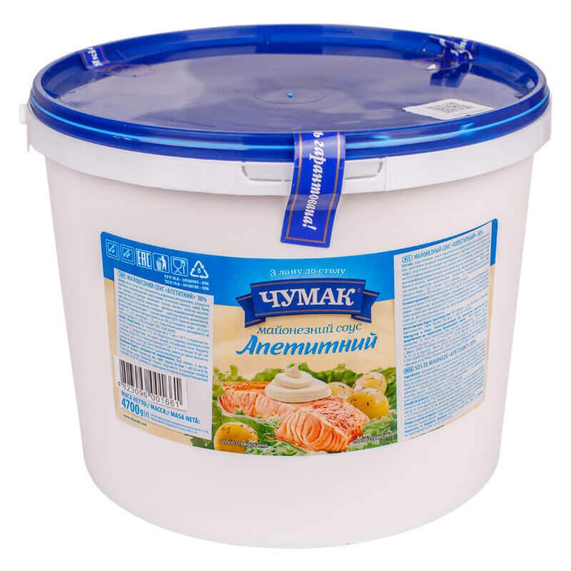 майонезный соус аппетитный 30% тм чумак 4700г