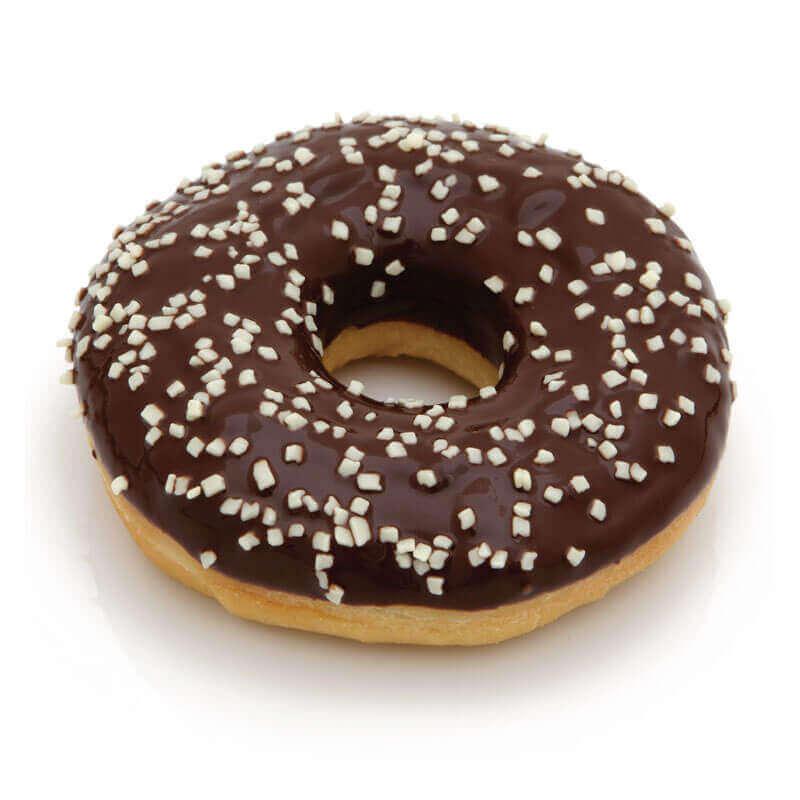 черный пончик donut с посыпкой из белого шоколада mantinga 55г