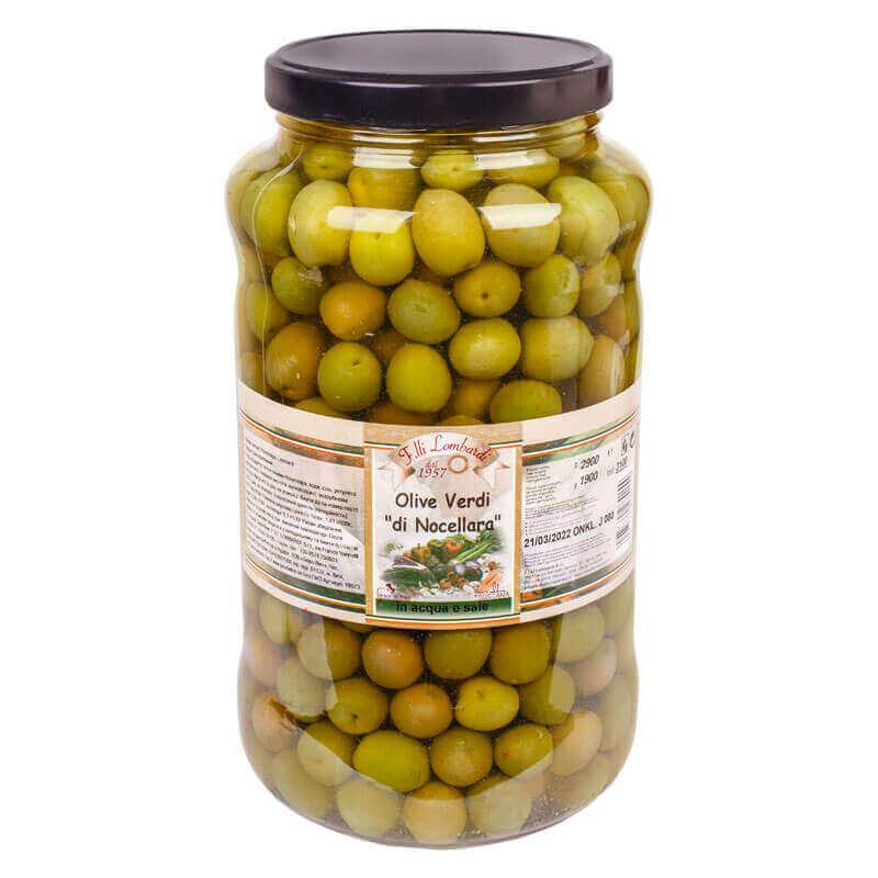 оливки зеленые большие с косточкой ночеллара тм lombardi 2900г