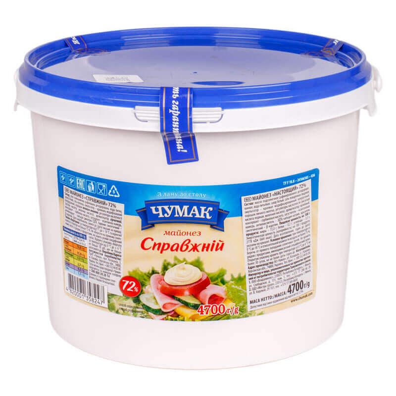 майонез настоящий 72% тм чумак 4700г
