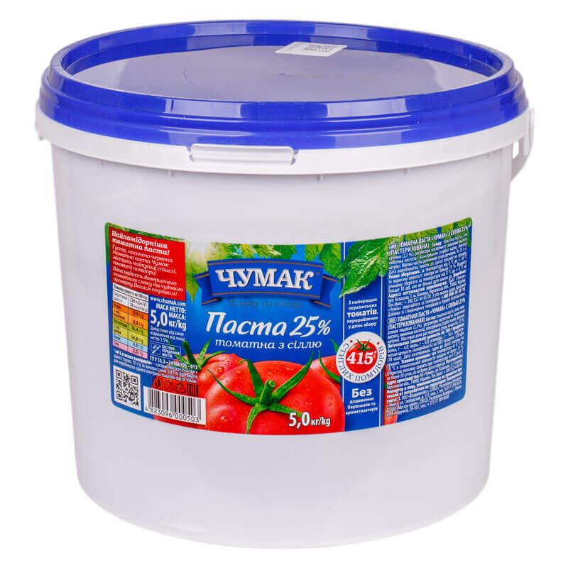 томатная паста 25% с солью тм чумак 5кг