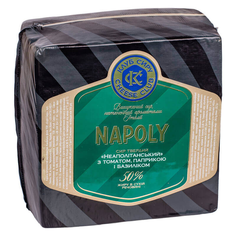 сыр неаполитанский с томатом паприкой и базиликом 50% тм клуб сыра