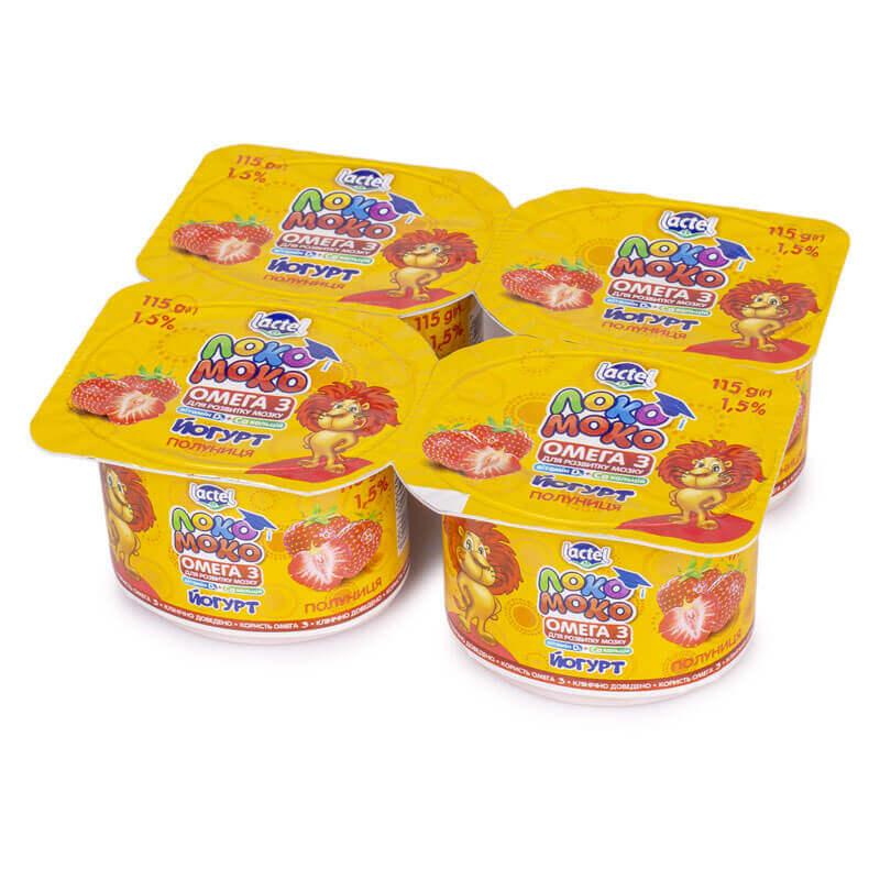 011535 йогурт с клубникой кальцием омегой 3 витамином d3 1,5% тм локо моко 460г