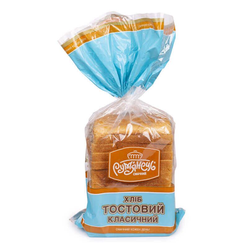 хлеб тостовый классический пшеничный рум`янець 350г