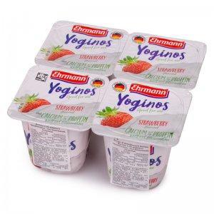 йогурт из обезжиренного молока yoginos клубника 0,1% жира тм ehrmann 400г